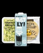 Shop biologische dieetvoeding zoals amandelmerk, courgettepasta en wortel tortillas bij Albert Heijn