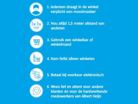 Dit zijn de veiligheidsmaatregelen die in de winkels van Albert Heijn België gelden.