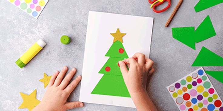 Maak de mooiste kerstkaarten op het kinderdagverblijf.
