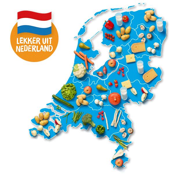 Landkaart van Nederland met producten uit Nederland bij Albert Heijn