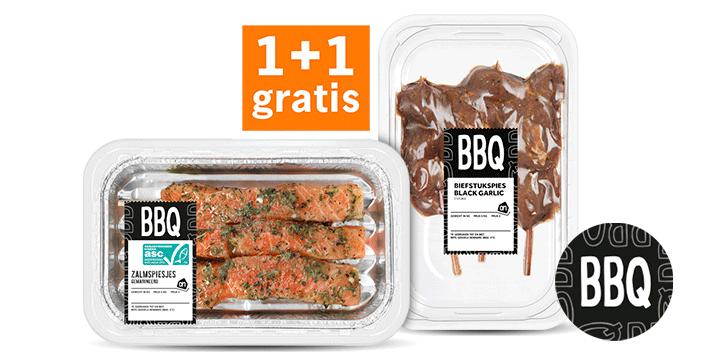 AH BBQ Zalmspies + AH Biefstukspies Black Garlic 1+1 gratis bij Albert Heijn