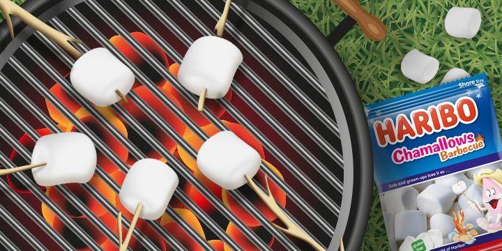 Haribo chamallows op de barbecue bij Albert Heijn