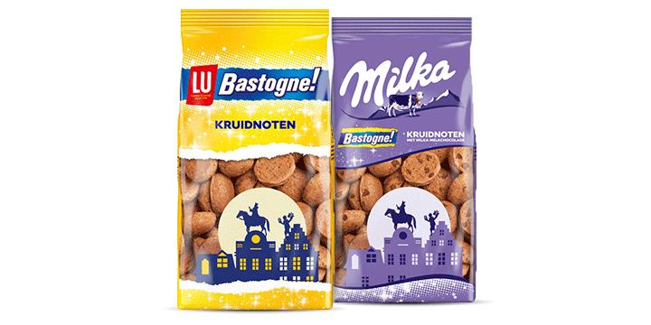 Kruidnoten van LU Bastogne met en zonder Milka chocolade