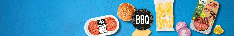 BBQ hamburger, vegetarische burger Garden Gourmet en groenten bij Albert Heijn