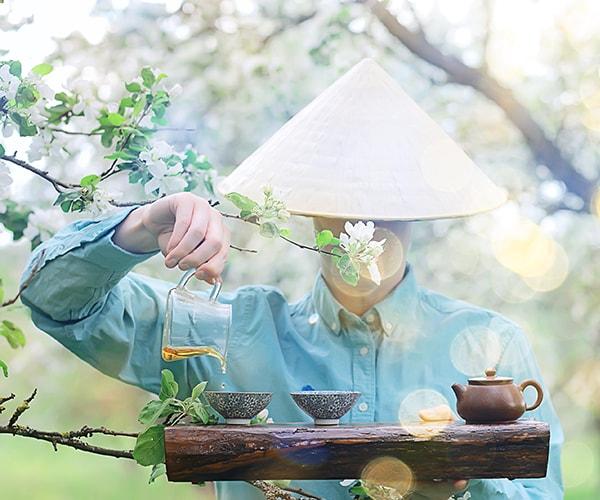 Japanner bereidt witte thee