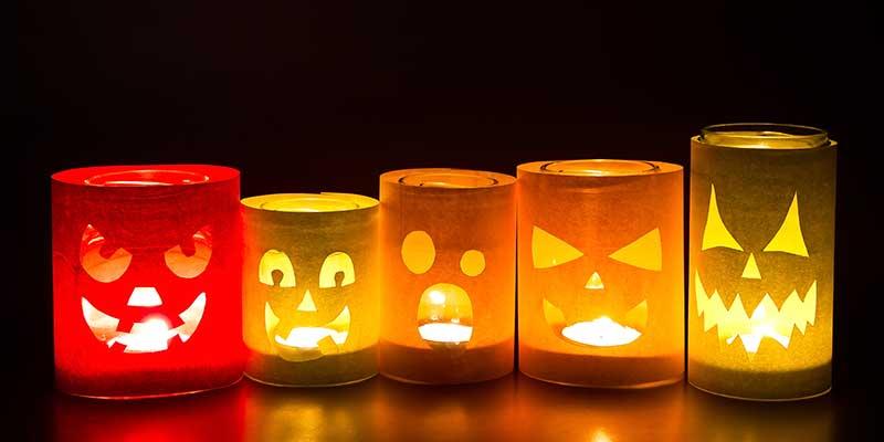 knutselen Halloween - lampionnen glaasjes