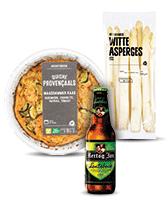 Lente quiche, witte asperges en lentebok bij Albert Heijn.
