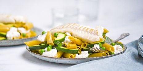 Penne Linzen in citroen-ricottasaus met groenten & kabeljauw