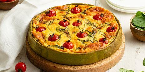 Groente taartdeeg met spinazie en oude kaas