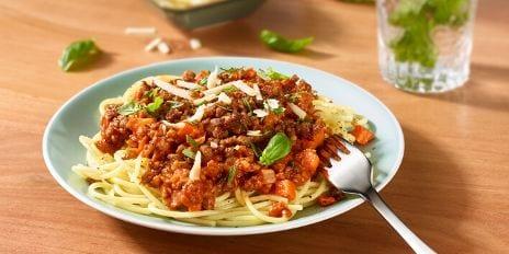 Spaghetti bolognaise met plantaardig kruimgehakt