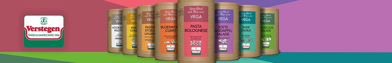 Bij Verstegen zijn we continue op zoek naar vernieuwende producten. Zo hebben we de Spice Blends voor Vega geïntroduceerd, voor super lekkere, vegetarische gerechten met een extra bite. Dit komt door de Miso die hartigheid geeft aan je gerecht. Deze 100% natuurlijke kruidenmixen krijg je compleet met recept en boodschappenlijstje. Ook lekker makkelijk dus.