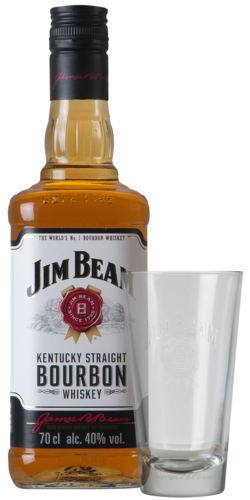Jim Beam White Glas 70CL + GL