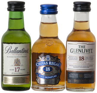 Exclusive Scotch met 3 Whisky's en glas