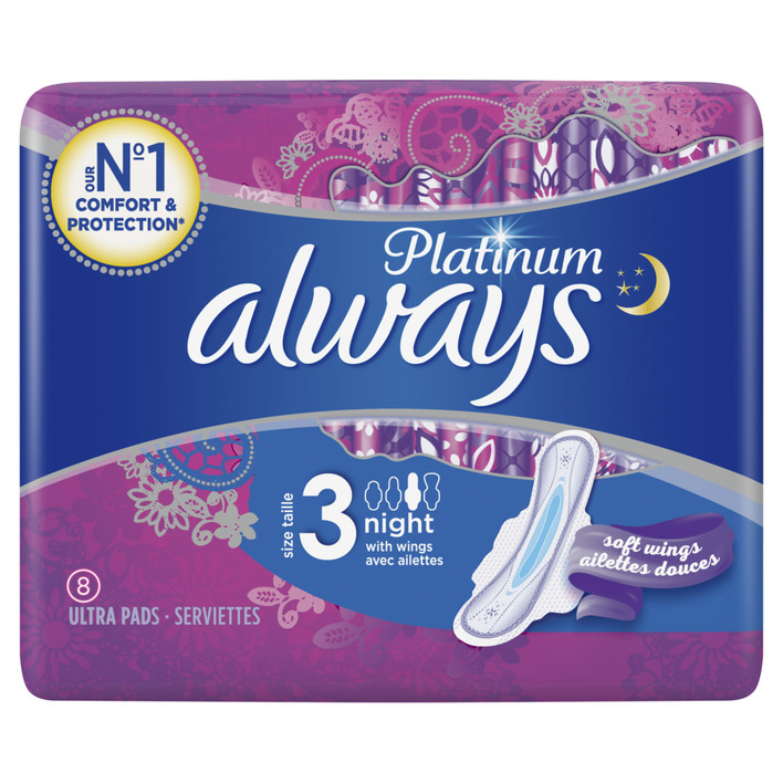 Een afbeelding van Always Platinum night maandverband