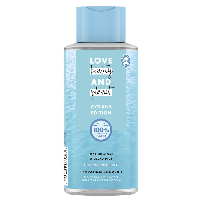 Een afbeelding van Love Beauty & Planet Shampoo marine ocean edition