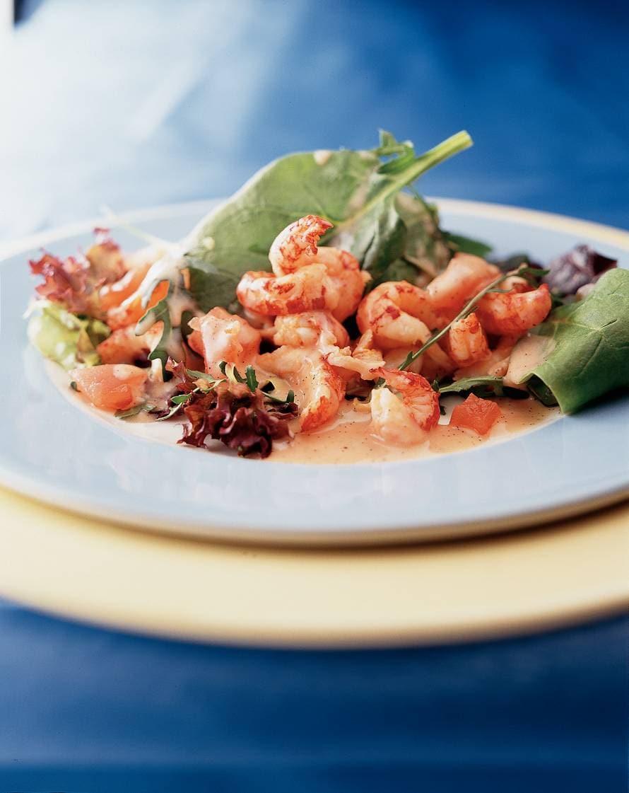 Salade van rivierkreeftjes met vanille-dressing