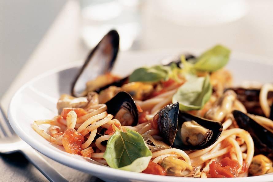 spaghetti met mosselen recept