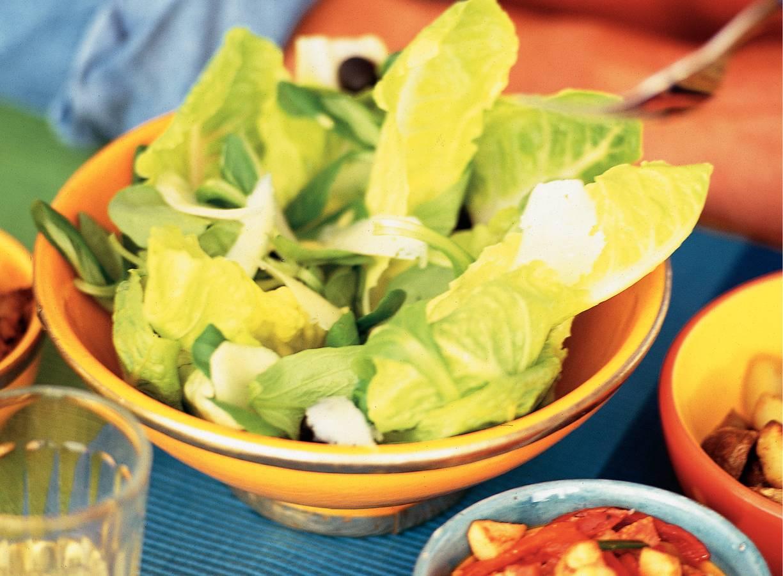 Groene salade met manchego en olijven
