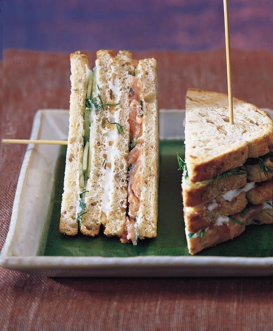 Zalm-tzatziki clubsandwich