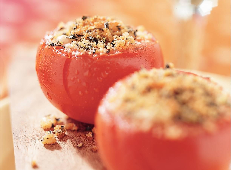 Tomaten met krokant deksel