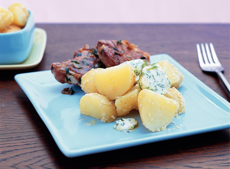 Aardappeltjes met peterselie-sesamboter