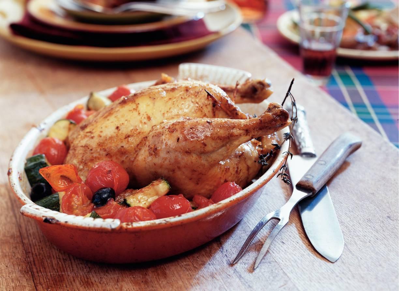 Provençaalse kip met courgette en tomaatjes