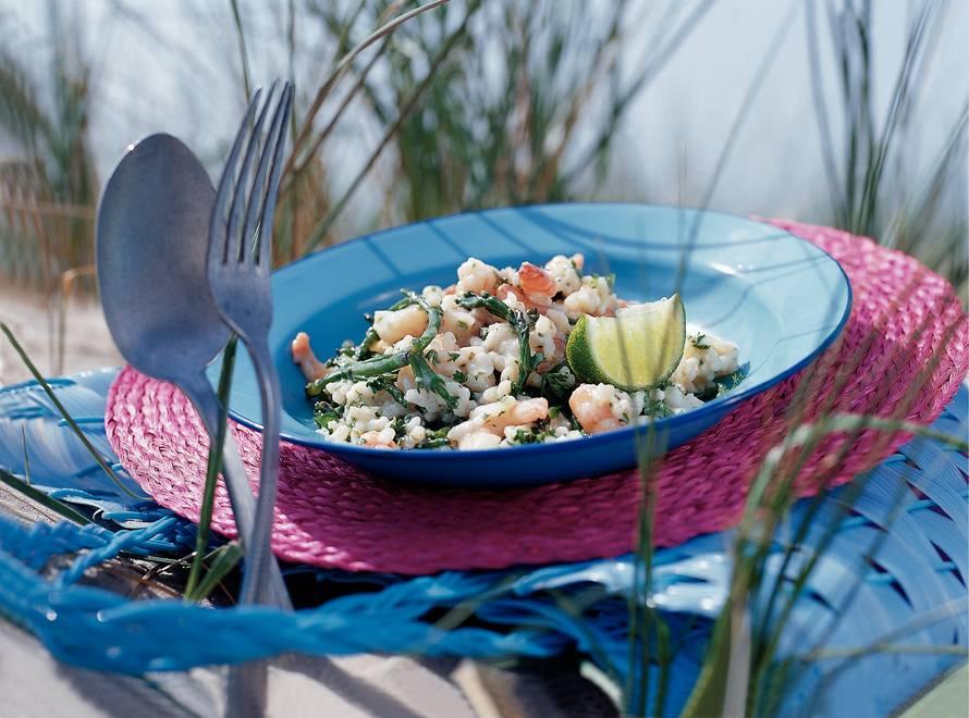 Romige rijst met zeekraal en tijgergarnalen