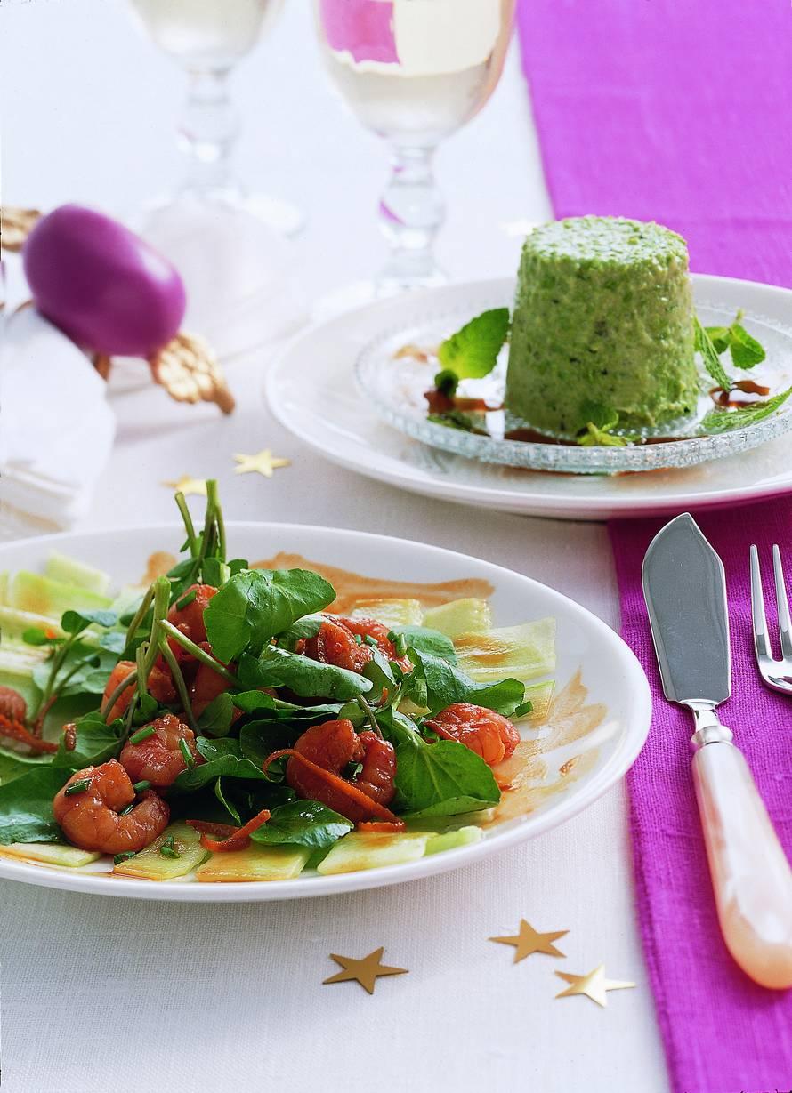 Komkommercarpaccio met gemarineerde tijgergarnalen
