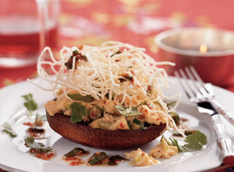 Portobello gevuld met pittig roerei en mihoen