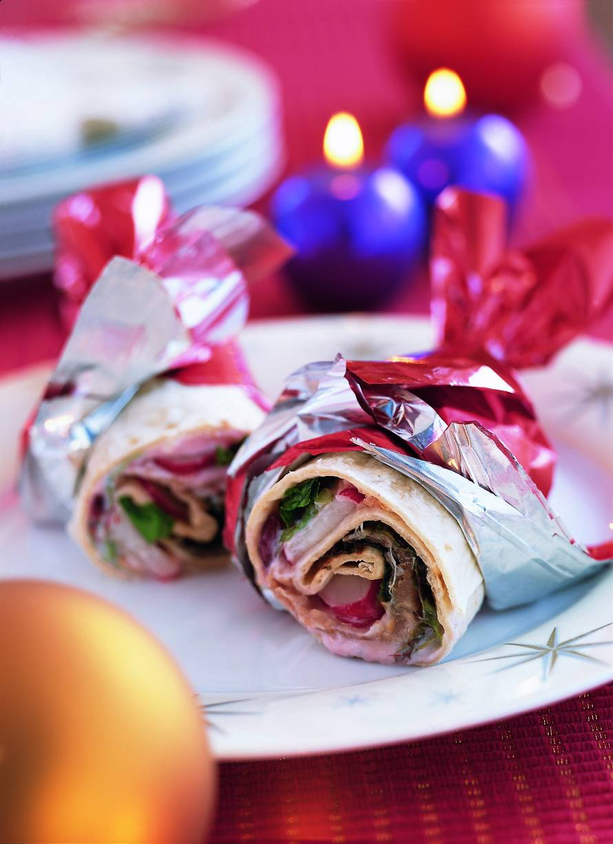 Wrap met gerookte ham en cranberryroom