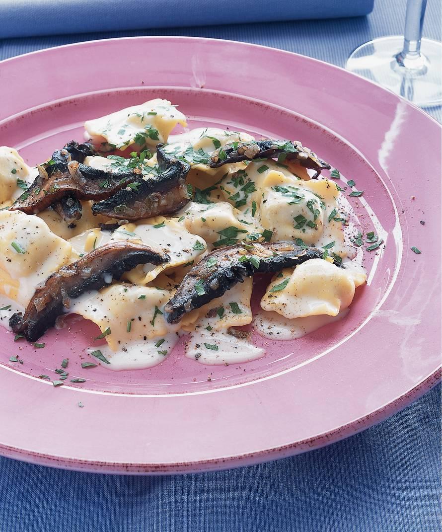 Romige ravioli met portobello