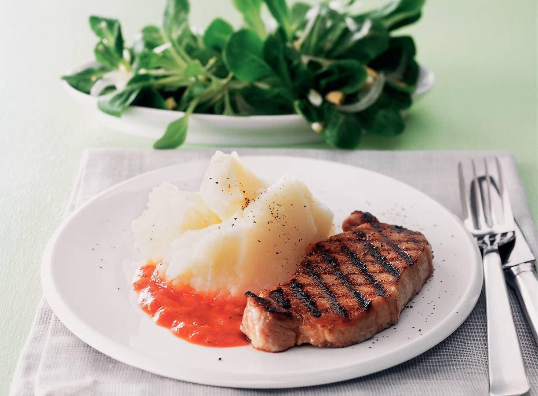 Gegrilde varkensfilet met aardappel-koolrabipuree