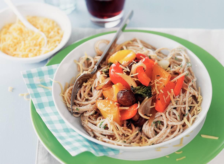 Volkorenspaghetti met ricotta en geroosterde groenten