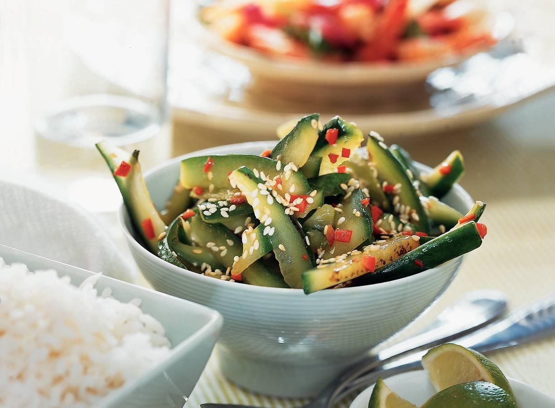 Komkommer uit de wok