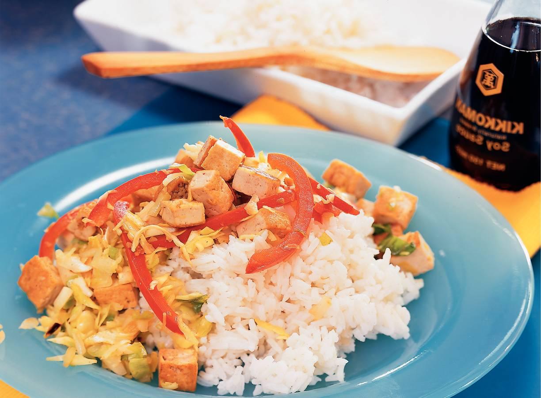 Pandanrijst met tofu en groenten