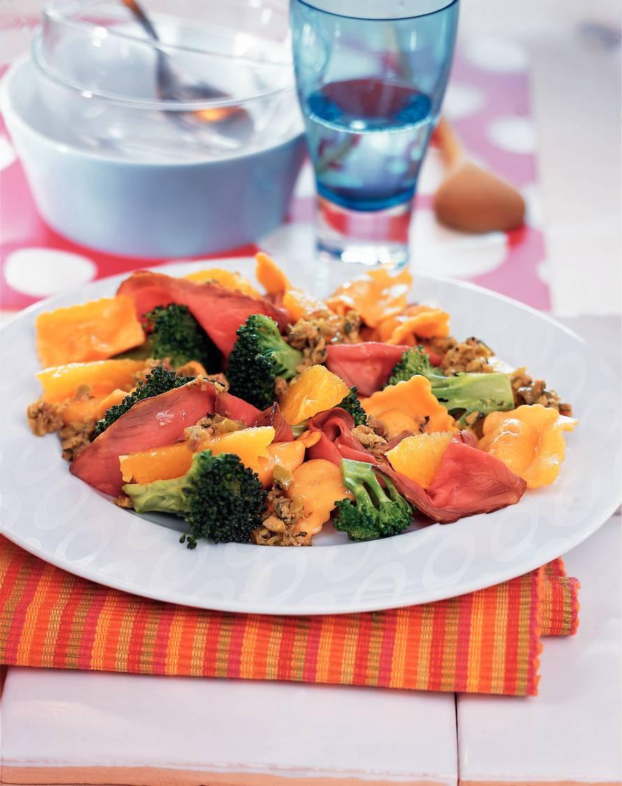 Ravioli met rosbief en sinaasappel