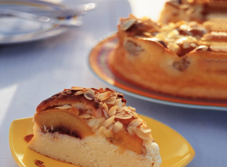 Rijke cheesecake met perziken