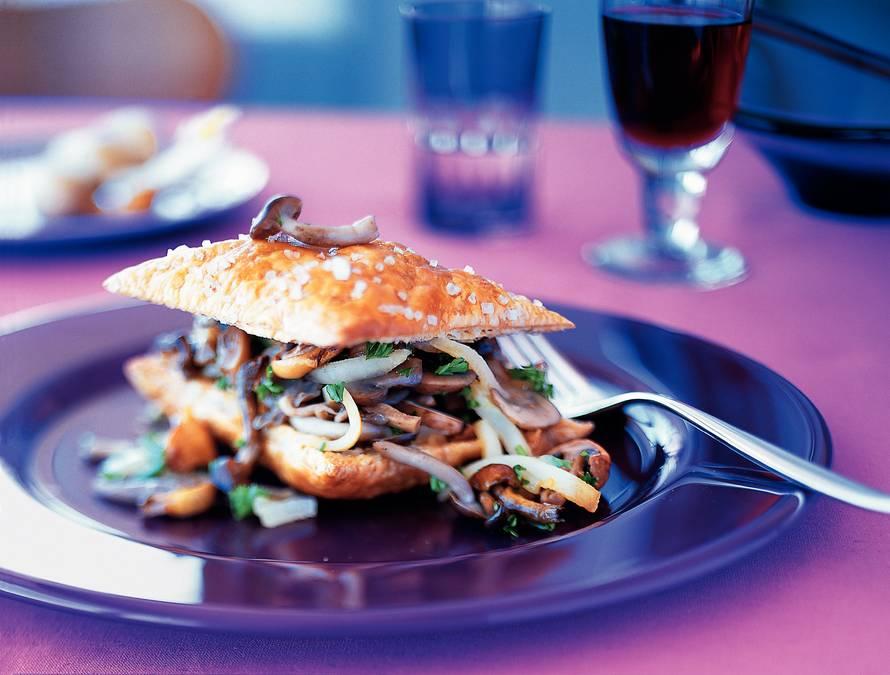 Krokante paddestoelensandwich