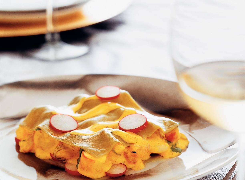 Lasagne met zeefruit en vermoutsaus