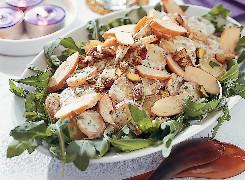 Aardappelsalade met gerookte kip en korianderdressing