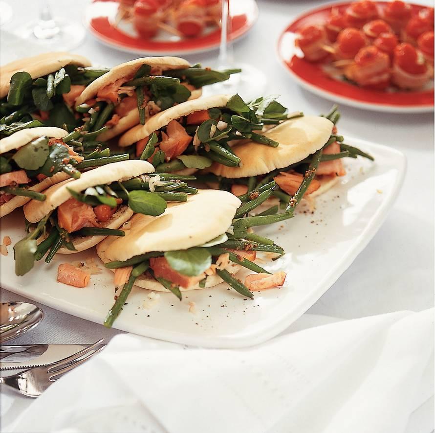 Shoarmabroodjes met haricots verts en zalm