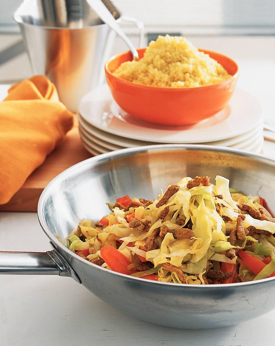Shoarma met spitskool en couscous