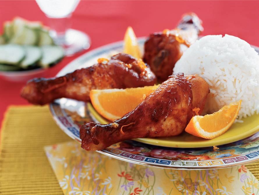 Kipdrumsticks in sinaasappel-honingmarinade