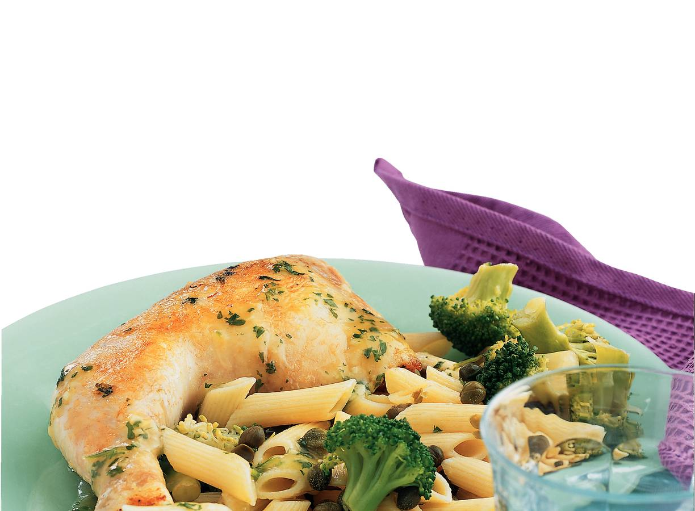 Kip met knoflooksaus en broccoli