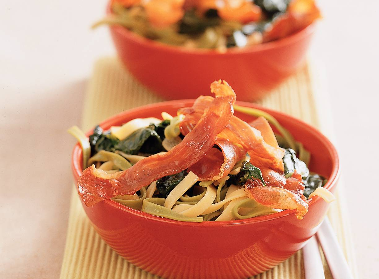 Tagliatelle met Parmaham en spinazie