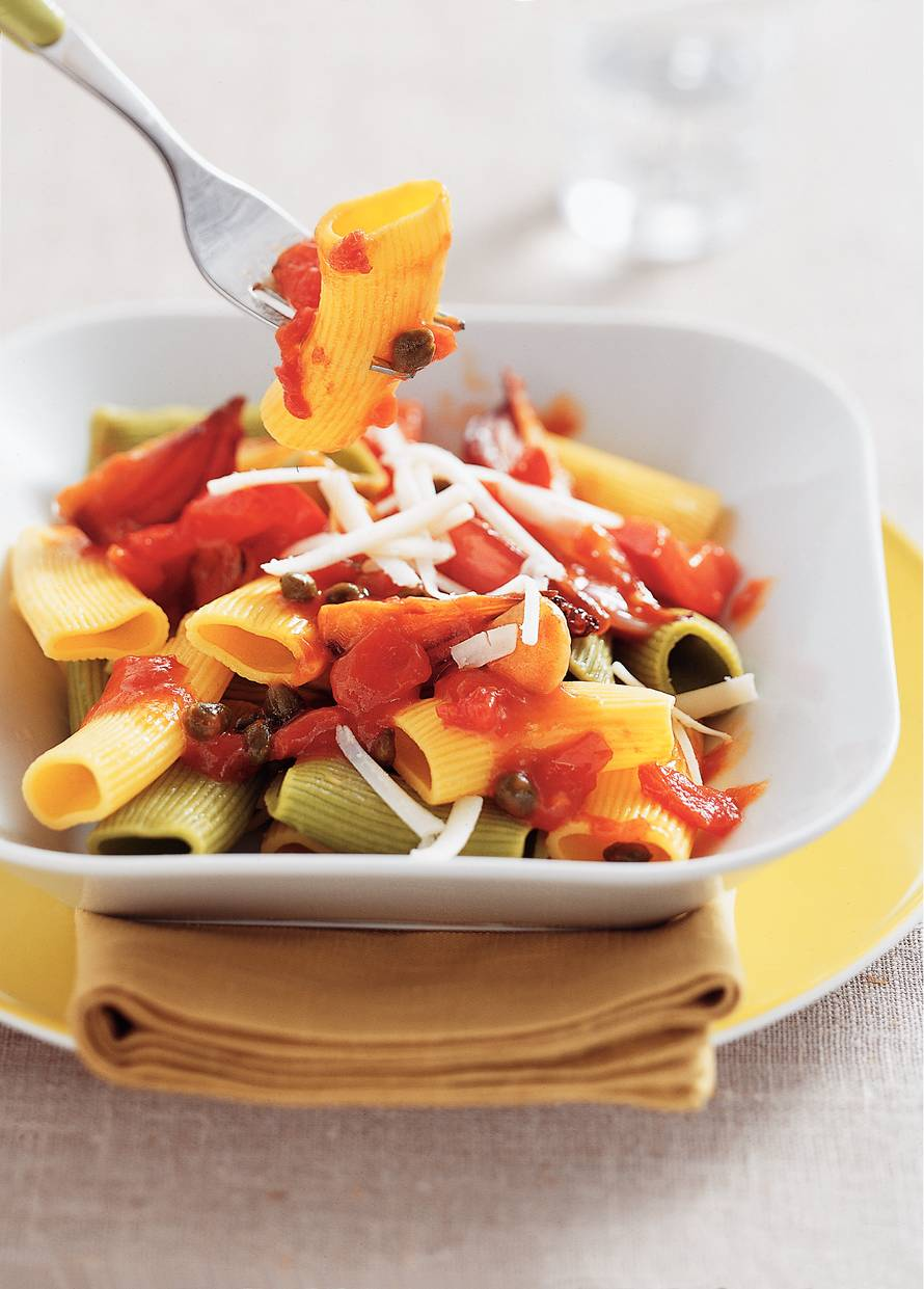 Maccheroni met gestoofde groenten