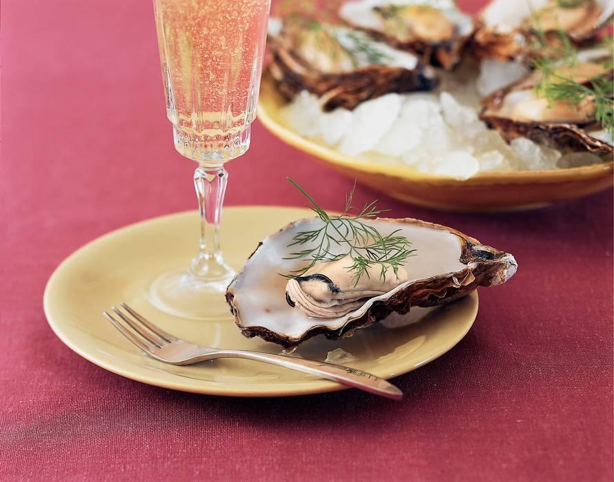 In eigen vocht gepocheerde oesters
