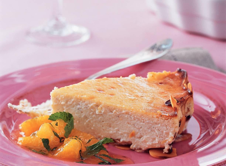 Friszure cheesecake met sinaasappelcompote