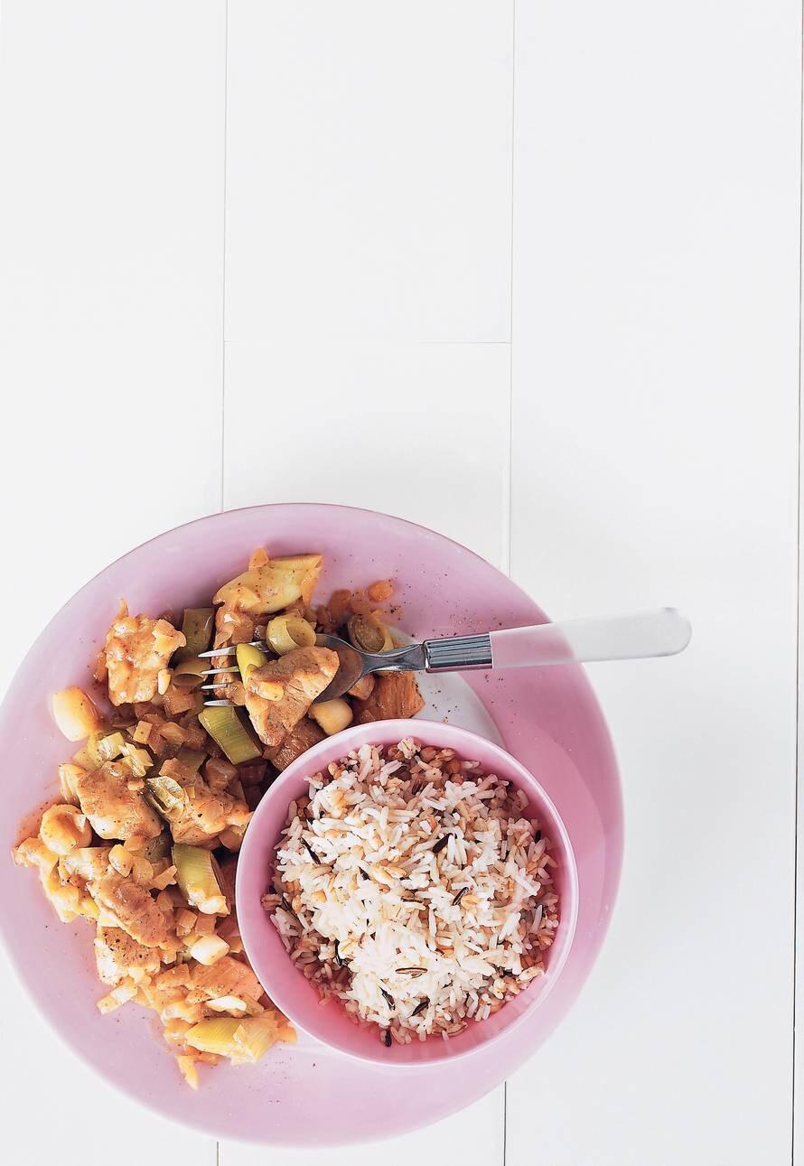 Gestoofde hamlappen met rijst
