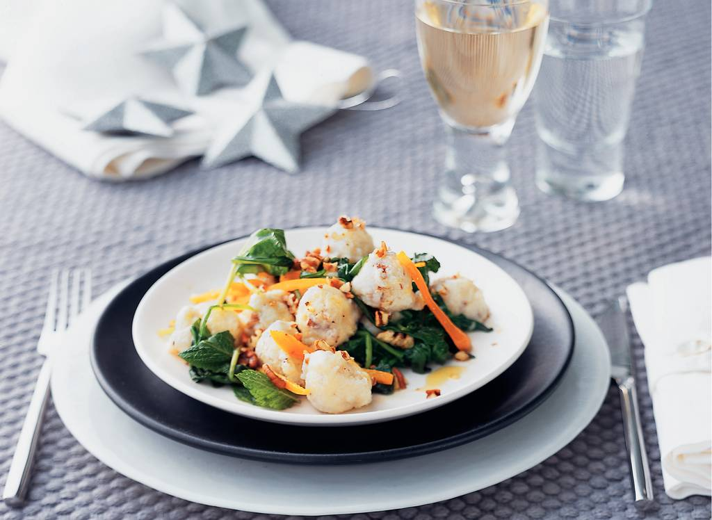Geitenkaasgnocchi met spinazie en truffelolie - Albert Heijn